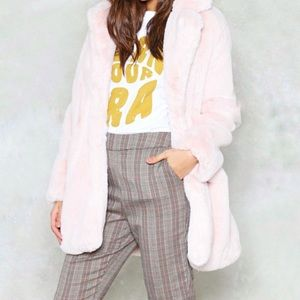 Forever 21 Pink Teddy Faux Fur Coat Jacket S